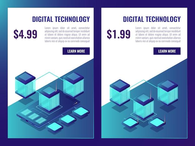 Banner di hosting e data storage cloud, brochure room room con prezzo Vettore gratuito