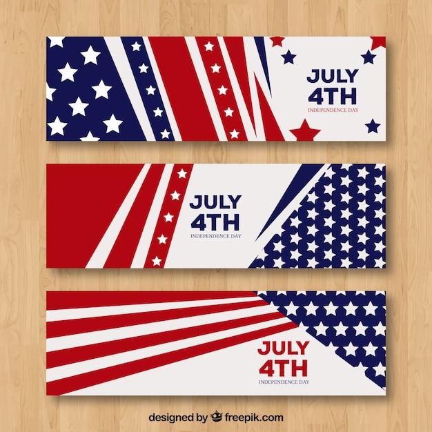 Banner di indipendenza usa con design piatto Vettore gratuito