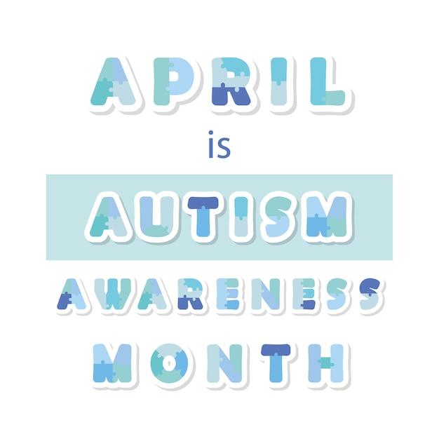 Banner di informazioni mese consapevolezza di autismo. Vettore Premium