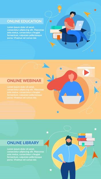 Banner di intestazione formazione online impostato sullo spazio colore Vettore Premium