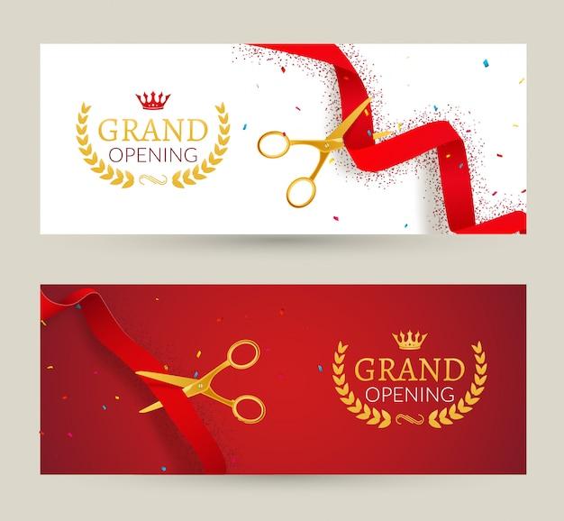 Banner di invito di grande apertura. evento cerimonia del taglio del nastro rosso. scheda di celebrazione di grande apertura Vettore Premium