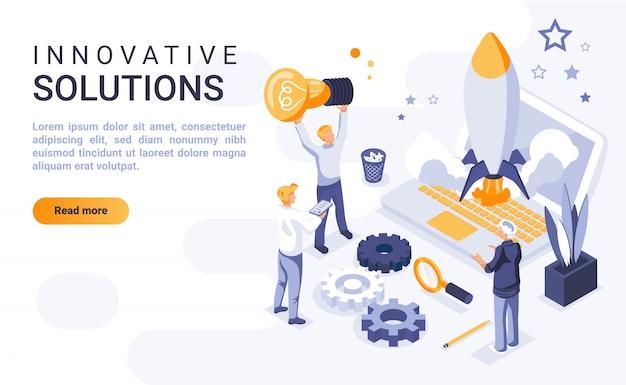 Banner di landing page di soluzioni innovative con illustrazione isometrica Vettore Premium