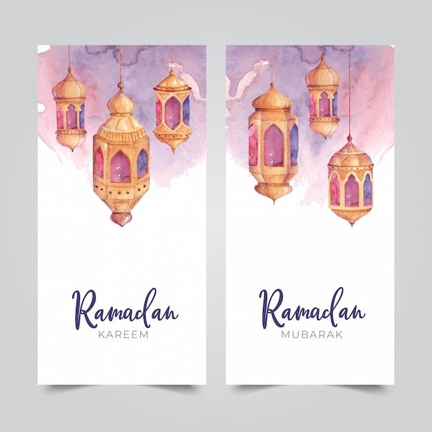 Banner di lanterna araba dell'acquerello Vettore Premium
