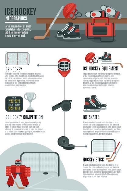 Banner di layout di hockey su ghiaccio infografica Vettore gratuito