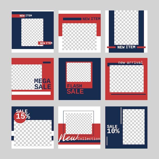 Banner di layout di media sociali per la promozione di marketing banner web vendita online con in colore blu e rosso. Vettore Premium