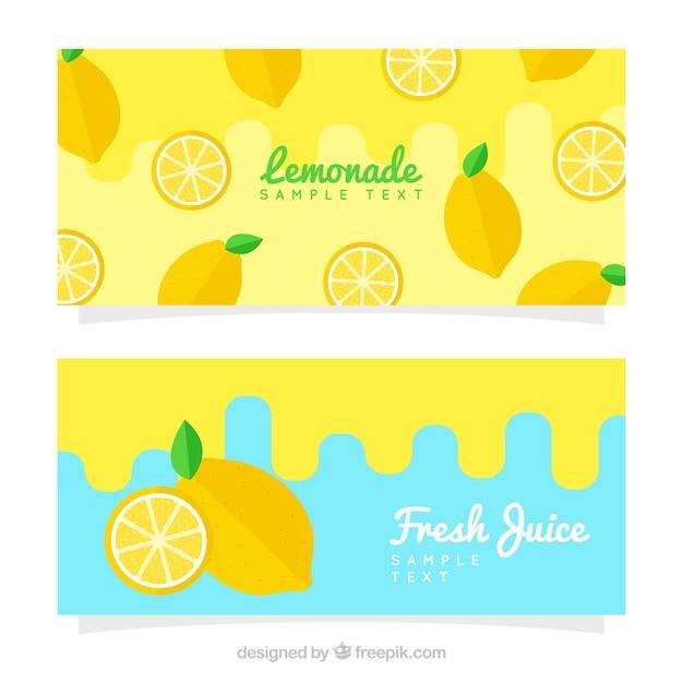 Banner di limonata in design piatto Vettore gratuito
