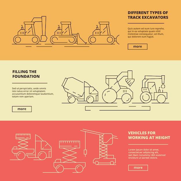 Banner di macchine edili. modello di sollevamento della gru del bulldozer del camion del veicolo pesante di edilizia Vettore Premium