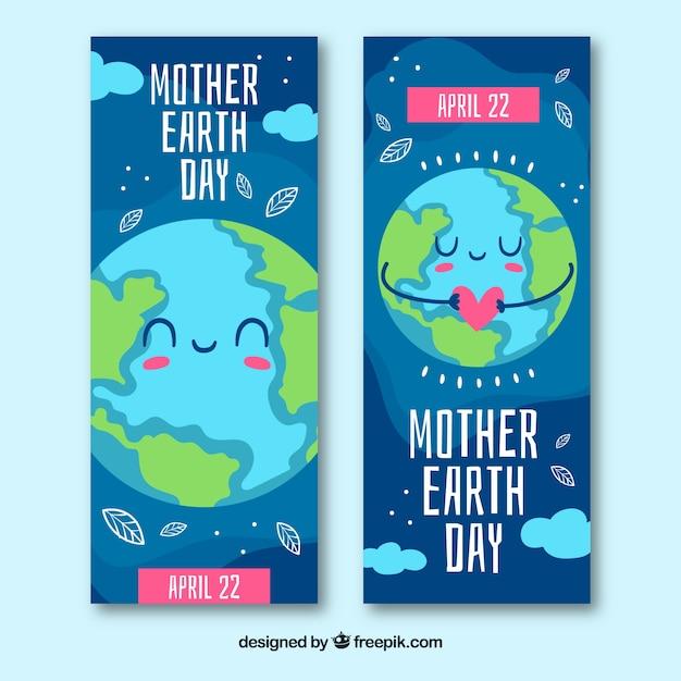 Banner di madre terra giorno Vettore gratuito