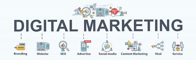 Banner di marketing digitale Vettore Premium
