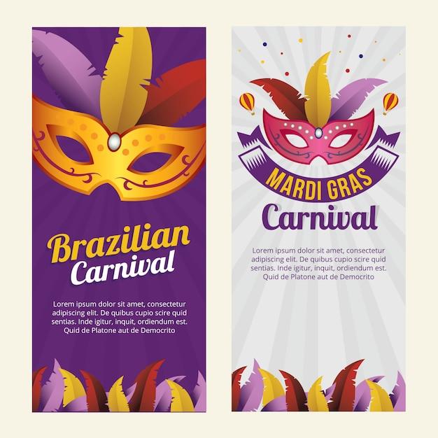 Banner di maschera di carnevale brasiliano Vettore Premium