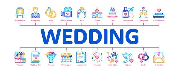 Banner di matrimonio Vettore Premium