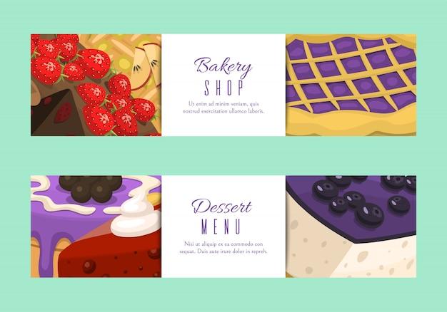 Banner di menu negozio di torte. dolci al cioccolato e fruttati per pasticceria con cupcake, Vettore Premium