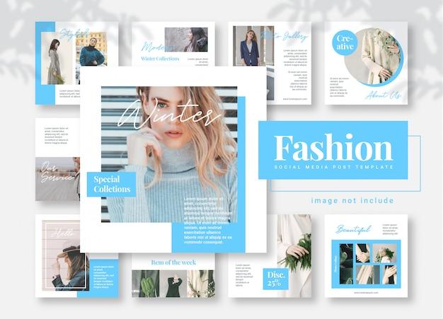 Banner di modello di post di media sociali di moda blu Vettore Premium