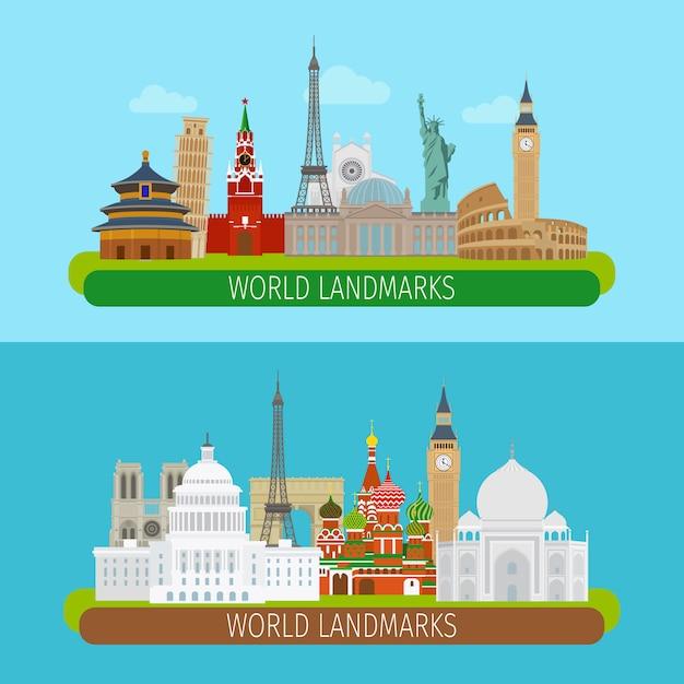 Banner di monumenti del mondo Vettore Premium