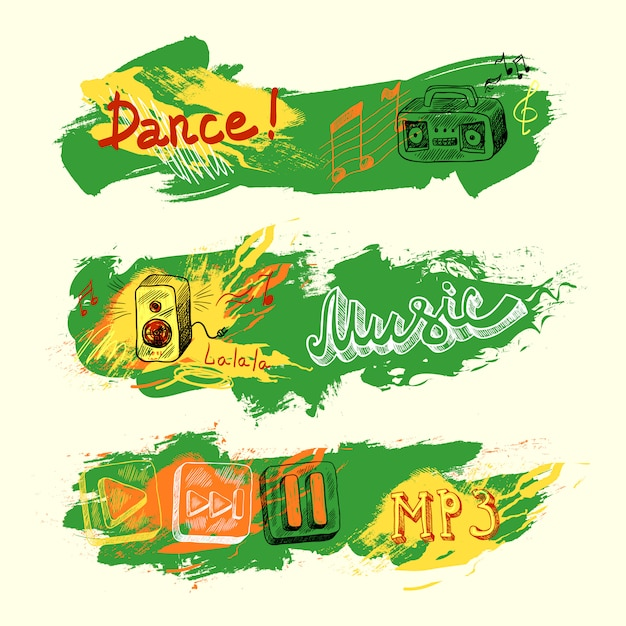 Banner di musica schizzo grunge Vettore gratuito