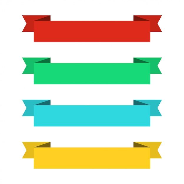 Banner di nastri piatti. nastri in design piatto. vector set di nastri colorati Vettore Premium