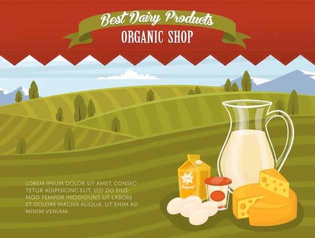 Banner di negozio biologico con paesaggio rurale Vettore Premium
