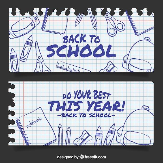 Banner di notebook fogli scuola Vettore gratuito
