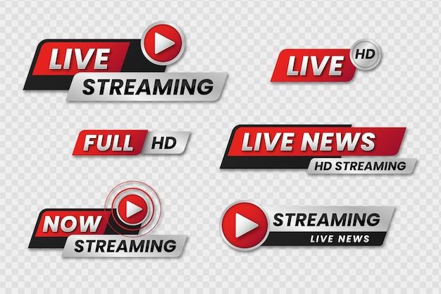 Banner di notizie streaming live Vettore gratuito
