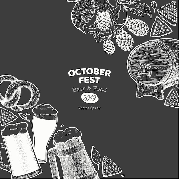 Banner di octoberfest. illustrazioni disegnate a mano sulla lavagna. Vettore Premium