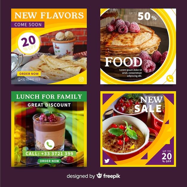 Banner di offerta di cibo con foto Vettore gratuito