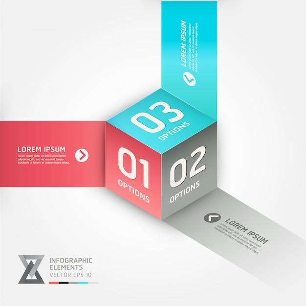 Banner di opzioni di stile moderno origami cubo. Vettore Premium