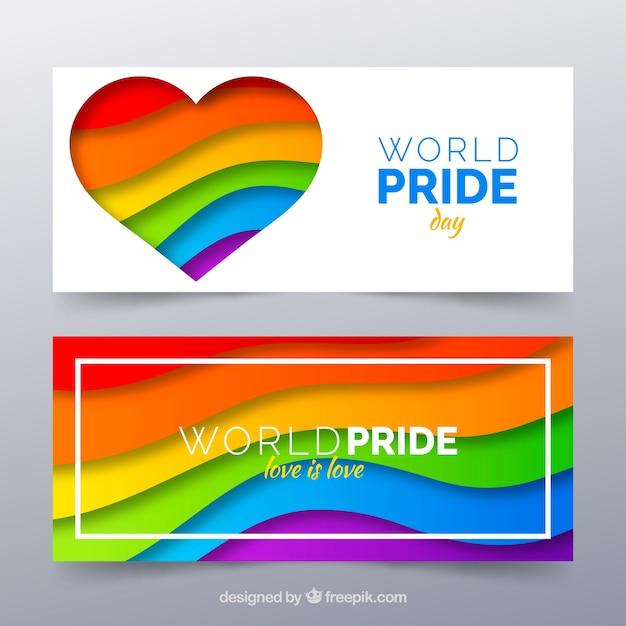 Banner di orgoglio lgbt in stile piatto Vettore gratuito