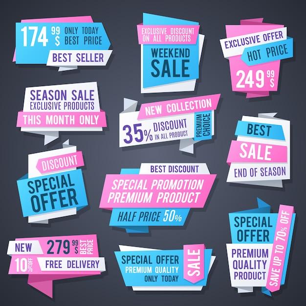 Banner di origami promozione, migliori cartellini dei prezzi e pubblicizzare pulsanti raccolta vettoriale. l'autoadesivo di sconto, il prezzo da pagare e il distintivo offrono l'illustrazione speciale Vettore Premium