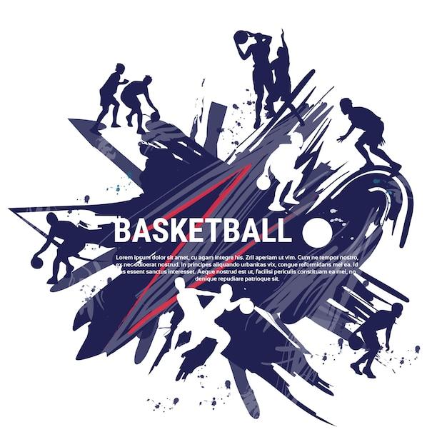 Banner di pallacanestro di giocatori sportivi sportivi Vettore Premium