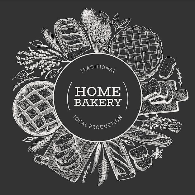 Banner di pane e pasticceria. illustrazione disegnata a mano di panetteria a bordo di gesso. Vettore Premium