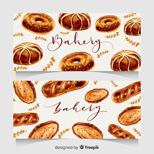 Banner di panetteria disegnati a mano Vettore gratuito