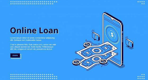 Banner di prestito online. prestito finanziario tramite applicazione mobile o computer. Vettore gratuito