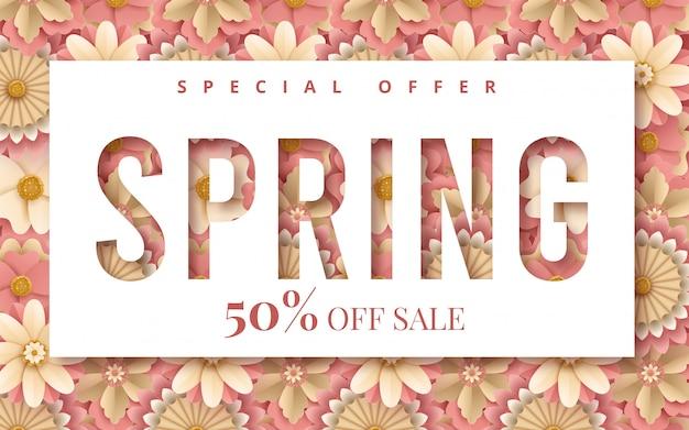 Banner di primavera con fiori di carta per lo shopping online, azioni pubblicitarie, riviste e siti web Vettore Premium
