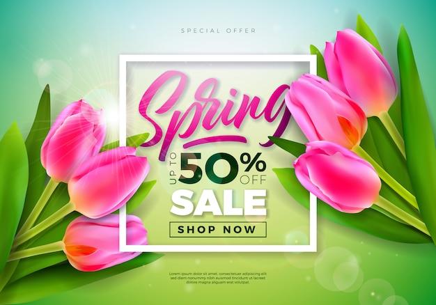 Banner di primavera modello di disegno floreale con tipografia lettera Vettore gratuito
