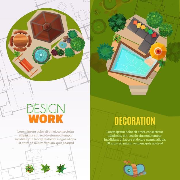 Banner di progettazione paesaggistica vista dall'alto Vettore gratuito