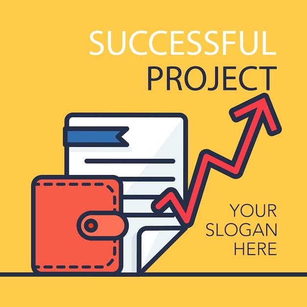 Banner di progetto di successo Vettore Premium