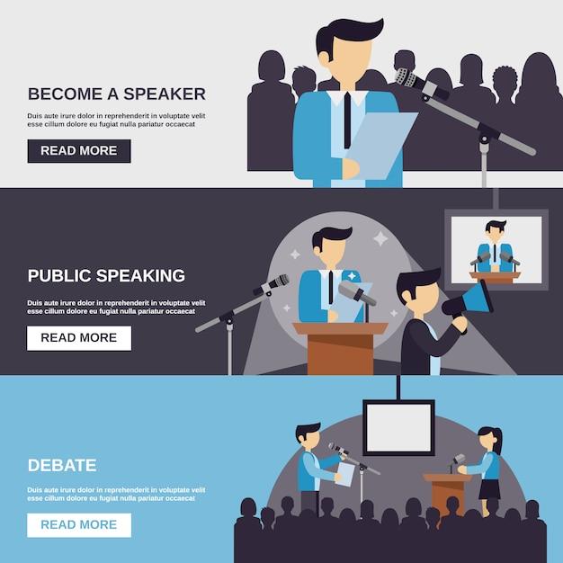 Banner di public speaking Vettore gratuito