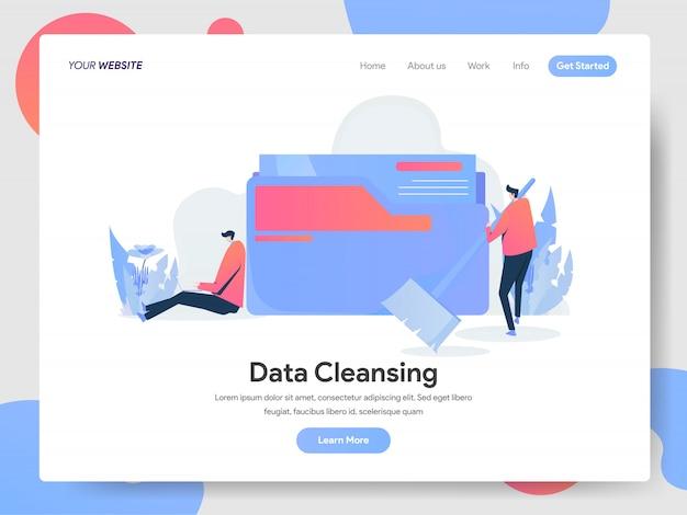 Banner di pulizia dei dati della pagina di destinazione Vettore Premium