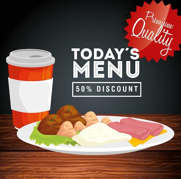 Banner di qualità premium oggi menu sconto del cinquanta per cento Vettore gratuito