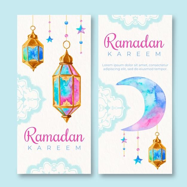 Banner di ramadan dell'acquerello Vettore gratuito