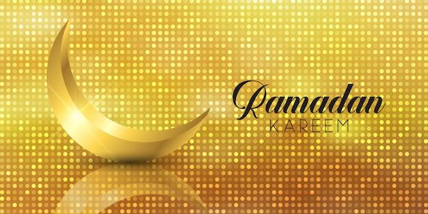 Banner di ramadan kareem con mezzaluna d'oro Vettore gratuito