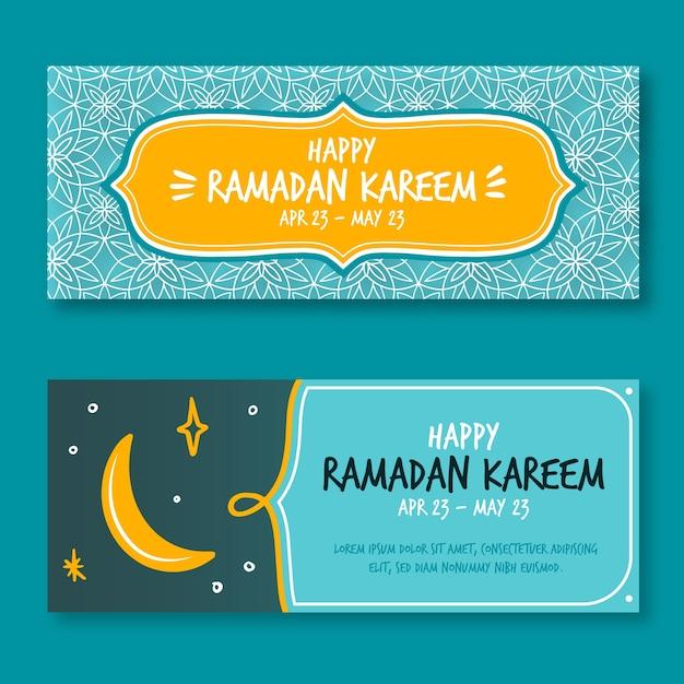 Banner di ramadan stile disegnato a mano Vettore gratuito