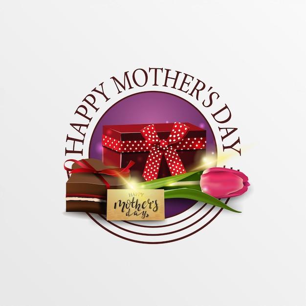 Banner di saluto rotondo per la festa della mamma con regalo, tulipano e caramelle Vettore Premium