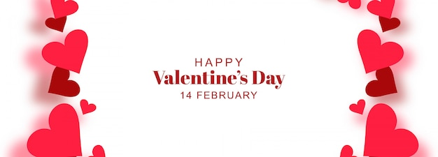 Banner di san valentino con cuori Vettore gratuito