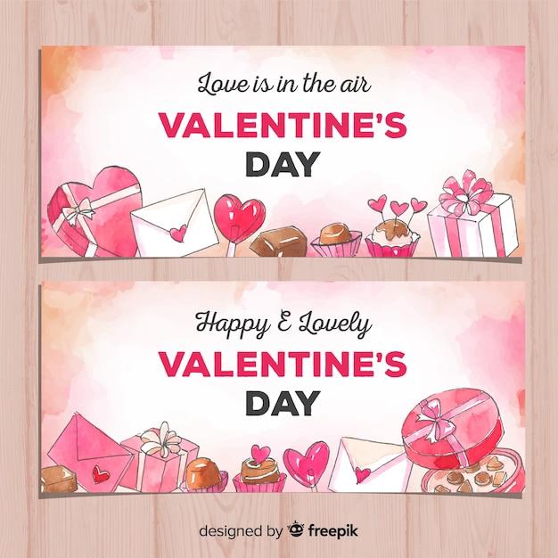 Banner di san valentino regali dell'acquerello Vettore gratuito