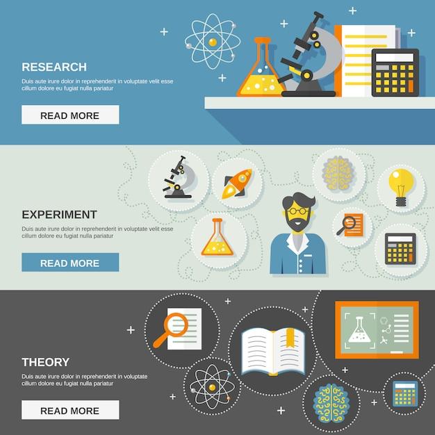 Banner di scienza e ricerca Vettore gratuito