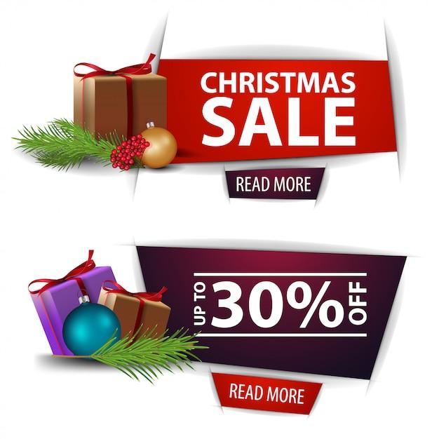 Banner di sconto di natale con doni isolati su sfondo bianco. modelli rossi e viola Vettore Premium