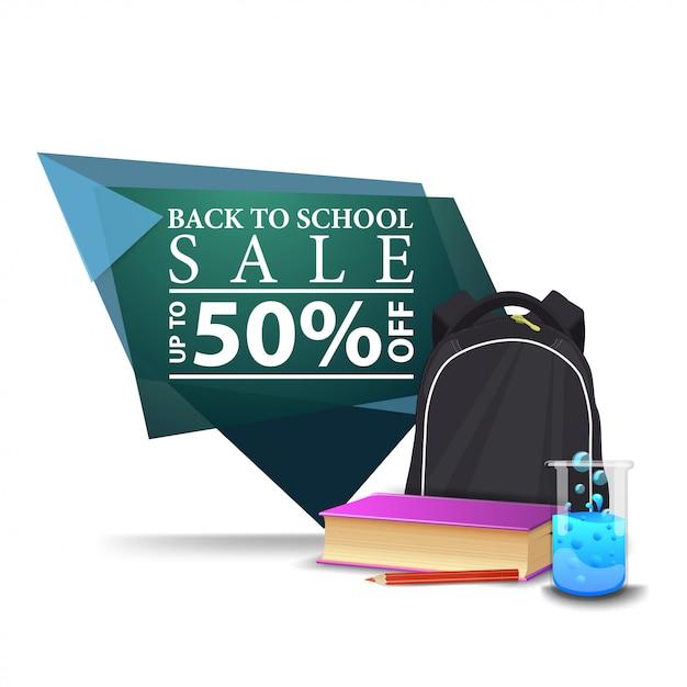 Banner di sconto geometrico verde moderno sul retro a scuola con zaino scuola Vettore Premium