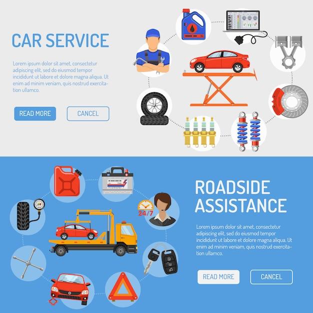Banner di servizio auto Vettore Premium