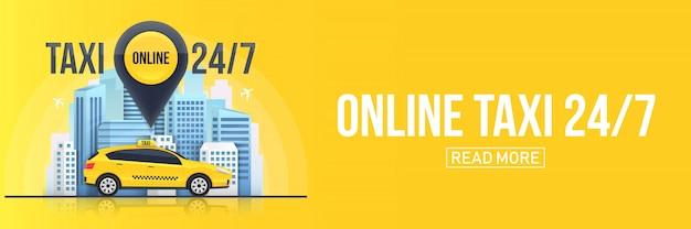 Banner di servizio online di taxi, grattacieli urbani della città Vettore Premium